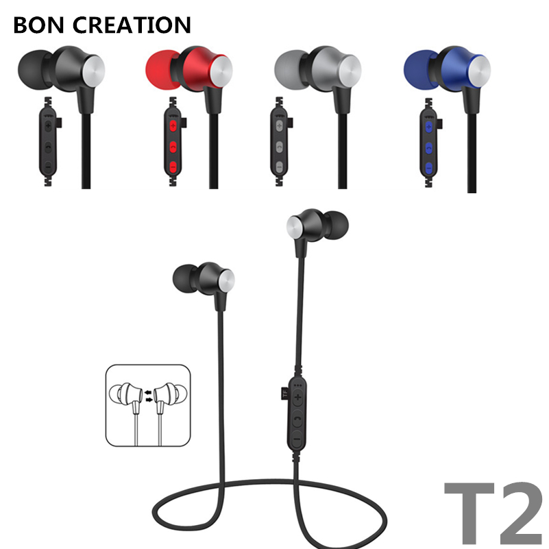 BON CREATION Magnet Metal Sports Bluetooth Earphone Wireless Earbud Stereo Headset With Mic Neckband Headset Portable