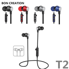 BON CREATION Magnet Metal Sports Bluetooth Earphone Wireless Earbud Stereo Headset With Mic Neckband Headset Portable for iPhone
