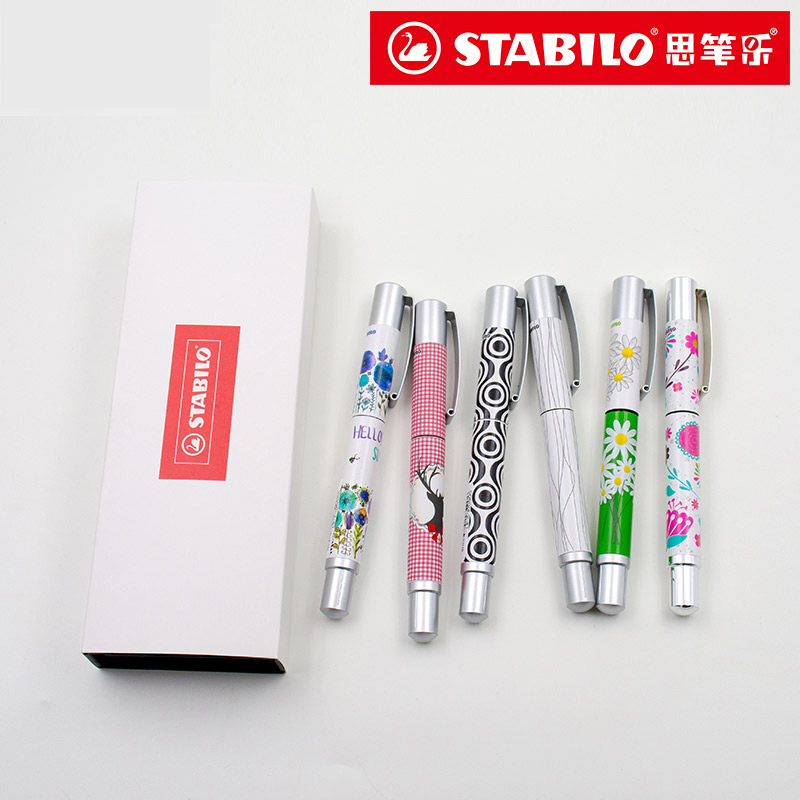 1pcs STABILO Fountain Pen Stainless steel 3D printing Fountain Pen 0.7mm Gift Box High Quality Stationery Office school supplies italic nib art fountain pen arabic calligraphy black pen line width 1 1mm to 3 0mm