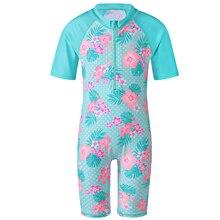 Girls Swimsuit Short Sleeve 1-10Y Cute Baby Swimwear Elastan Kids Bathing Suit one piece Children Summer Swimming Suit UPF 50+