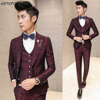 Mens Suits Wedding Groom 2015 New Arrival Autumn Men Bueinss Suit Luxury Vintage Prom Party Printed