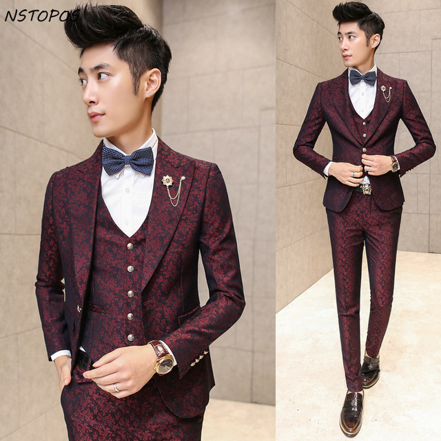 Burgundy Suits men Wedding Groom 20178 Men Flroal Suit Luxury ...