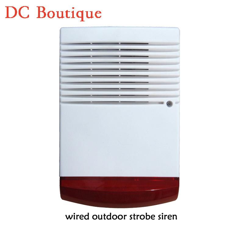 (1 PCS) Wired Outdoor siren with Flash Lamp water proof buzzer use for alarm system warning louder speaker Strobe Siren high quality solar spot alarm system kit 433mhz wireless outdoor siren with bright flash to make powerful warning