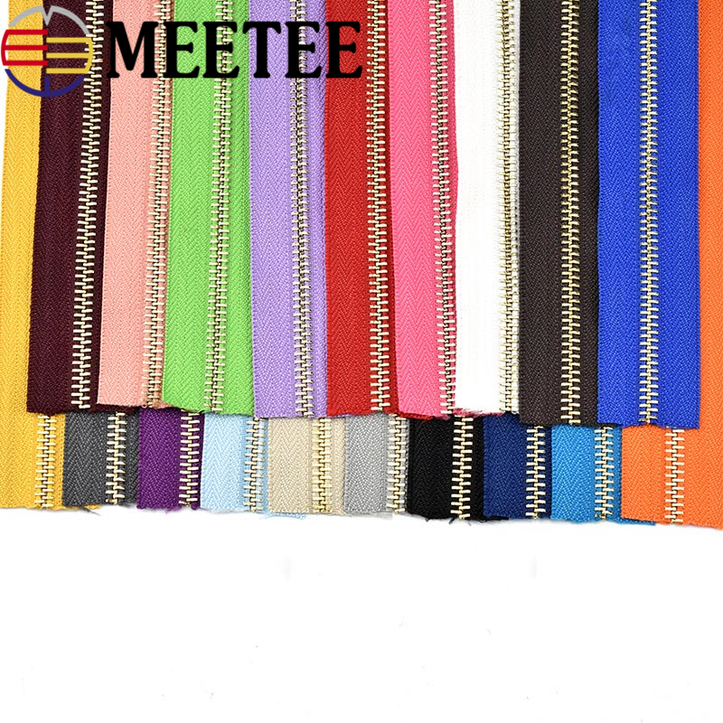 Meetee 5# 1yards 90cm Open- End Bronze Zippers Hand DIY Metal Zippers sewing tools for Clothing Bags Home Textile Shoes A7-2