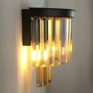 Image 4 - Nordic bedroom bedside lamp study living room wall balcony light creative light luxury modern minimalist crystal wall lamp
