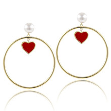 Fashion Womens Gold Charm Earrings Lady Simulated Pearl Round Drop Earring for Women Jewelry Red Heart Loop Statement