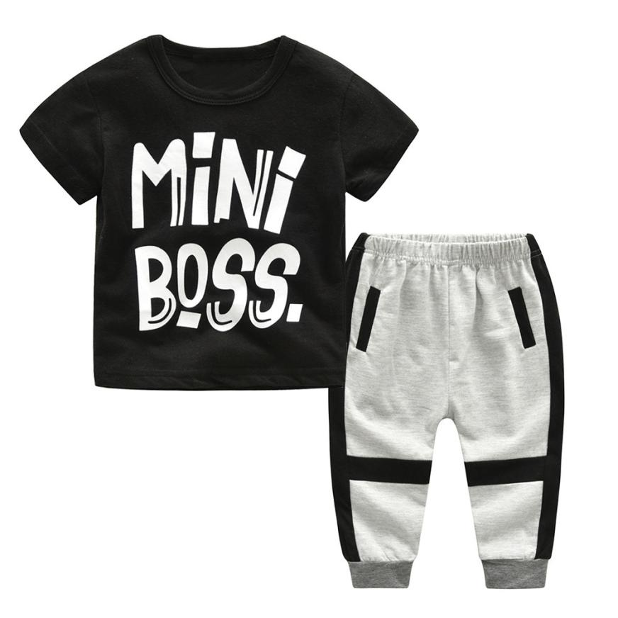Toddler Kids Baby Boys Letter Print T shirt Tops+Pants Outfits Clothes Set 0417
