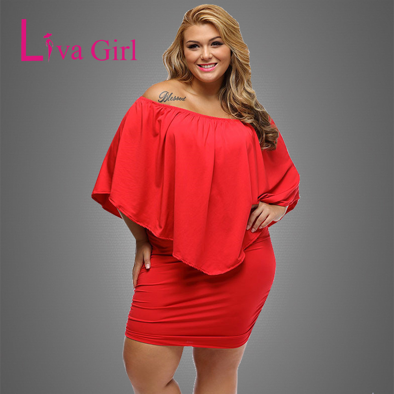 LIVA GIRL 2019 Kvinner Plus Size Dress Rød Off Shoulder Femme Sexy Mini Kjoler Large Big Size Bodycon Casual Vestidos XXL XXXL