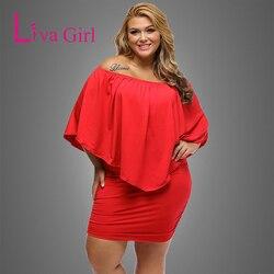 LIVA fille 2019 femmes robe de grande taille rouge épaule dénudée Femme Sexy Mini robes grande taille moulante décontracté robes XXL XXXL