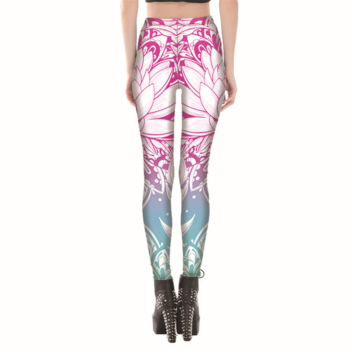 200faca95a3cd Womens Gradient Flowers Leggings Streetnic Workout Fitness Pants Ladies Lotus  Legging Pink Floral Printed Trousers Gifts