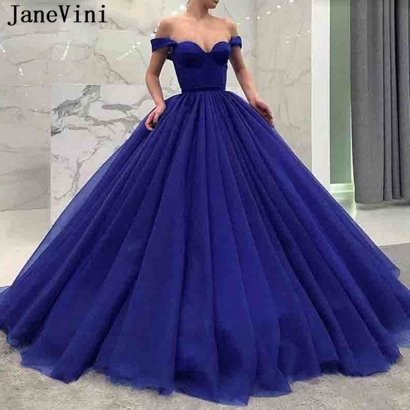 US $159.0 49% OFF|JaneVini Charming Royal Blue Prom Dress Off Shoulder Ball  Gown Floor Length Backless Tulle Plus Size Prom Dresses Vestidos Gala-in ...
