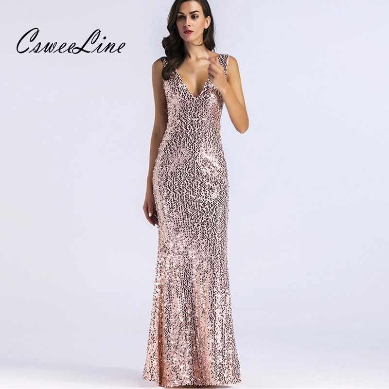 Detail Feedback Questions about Shining Gold Sequin Maxi Dress V neck Chic  Evening Party Mermaid Dresses Elegant Women Vestidos Sleeveless Sequins  Sexy ... 239361bbbd98