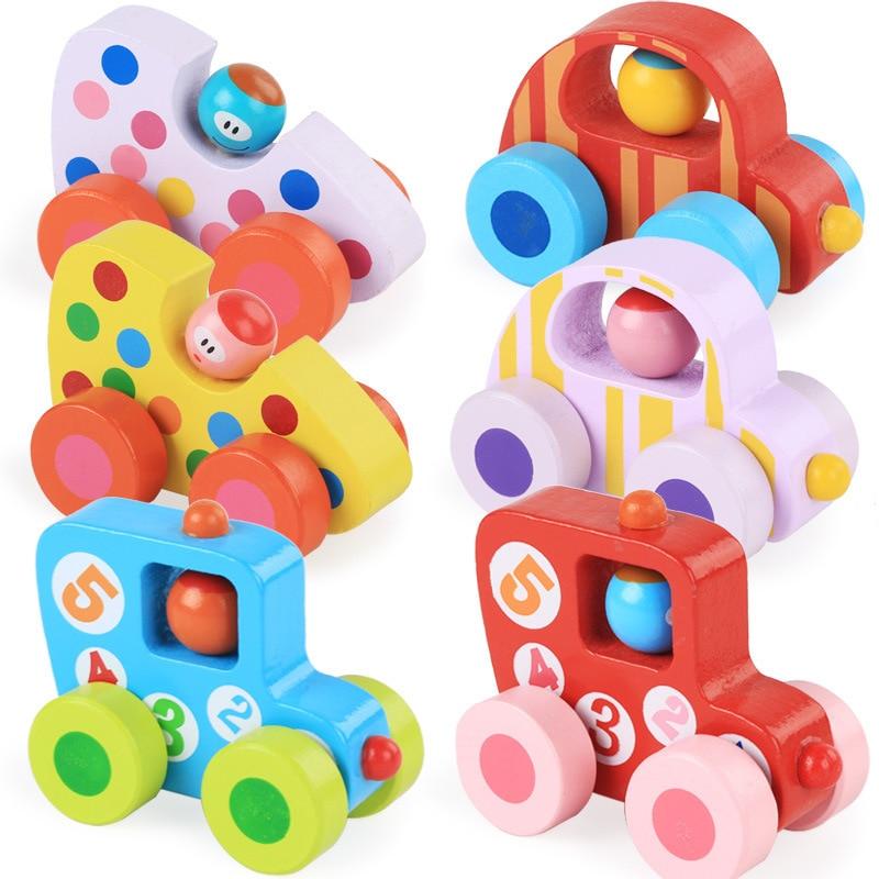 Wooden Car Walking Wheel  Wooden Toys Children Colorful Mini Car  Kindergarten Indoor Activities Toys 3 6 Year Old