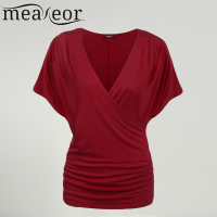 Meaneor Women Crossover V Neck Tops Women Batwing Sleeve Tops Front Women Drape Tops