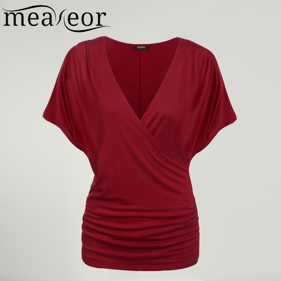 Meaneor 2018 Summer Fashion Women Crossover Deep V-Neck T-shirts Female High quality Batwing Sleeve Front Fold Tshirt Drape Top