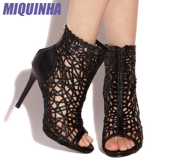 MIQUINHA Black Leather Straps Women Cut Out Ankle Boots Sexy Peep Toe Ladies High Heel Boots Rome Style Female Party Boots black smooth leather women peep toe boots sexy cut out ladies high heel boots ankle buckles knight style female fashion boots