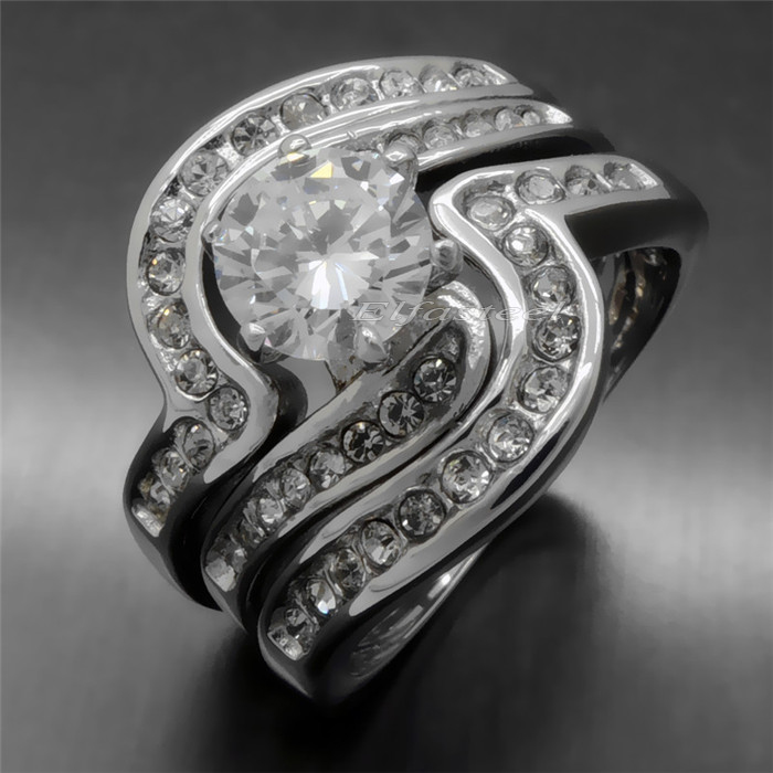 aliexpresscom buy 2 rings in 1 czs gem men women stainless steel wedding engagement puzzle ring new fashion jewelry from reliable ring hematite suppliers - Puzzle Wedding Rings