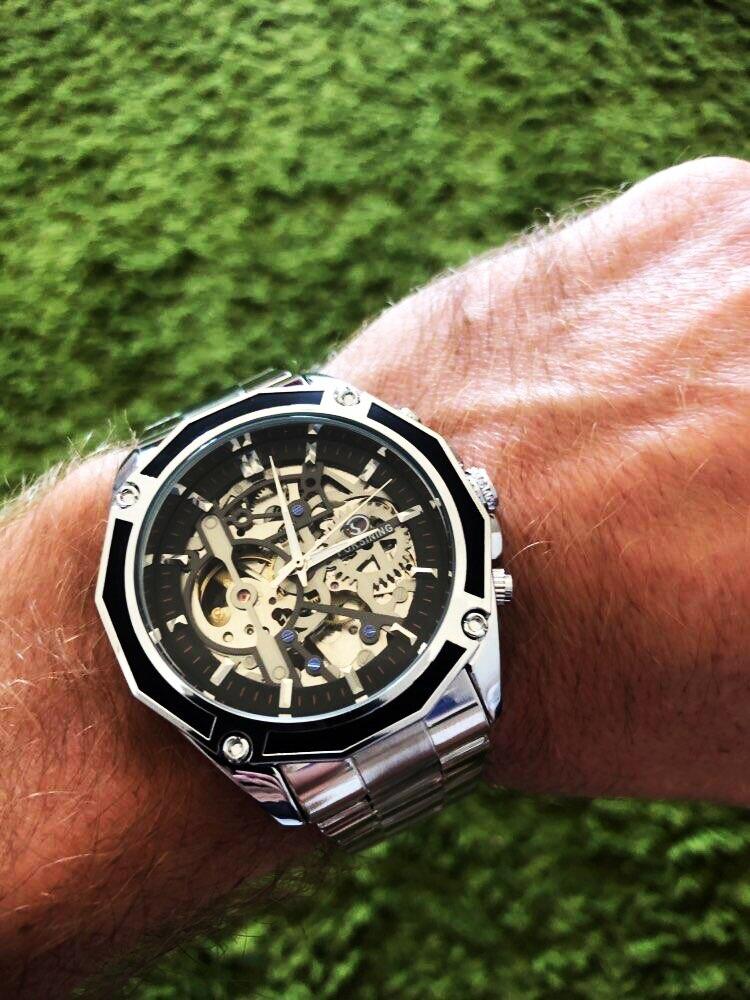 luxo aço inoxidável automático esqueleto relógio