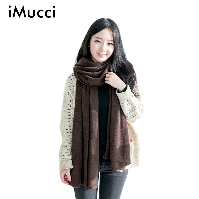 IMucci Solid Winter Scarf Women Warm Long Knitted Cashmere
