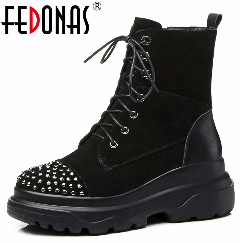 FEDONAS Brand Women Rivets Ankle Boots Cow Suede Wedges High Heels Warm Winter Snow Boots Female Lace Up Round Toe Shoes Woman