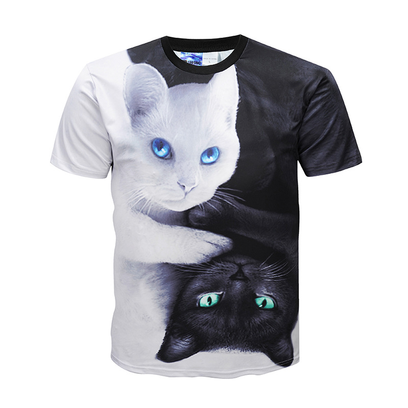 Black White Cat Summer Fashion Mens Women Shirts 3D Printed Short Sleeve Summer T Shirt Tops Tee outfit Unisex Casual Clothing