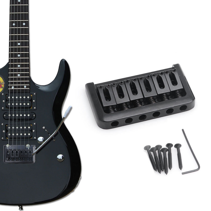 6 String Electric Guitar Bridge Hard Tail Top Load Fixed Hard Tail Parts Black black 6 saddle hardtail bridge top load 65mm electric guitar bridge b2c shop
