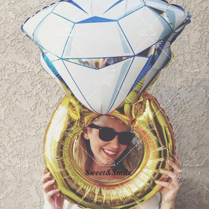 50 * 70 cm stor diamantring aluminiumsfolie balloner brud ring valentine ballon elsker bryllup ægteskab jubilæum helium ballon