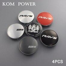 KOM 4pcs 58.5mm car racing wheel hub cap badge sticker modified universal trim rim cover center for rays ssr vs