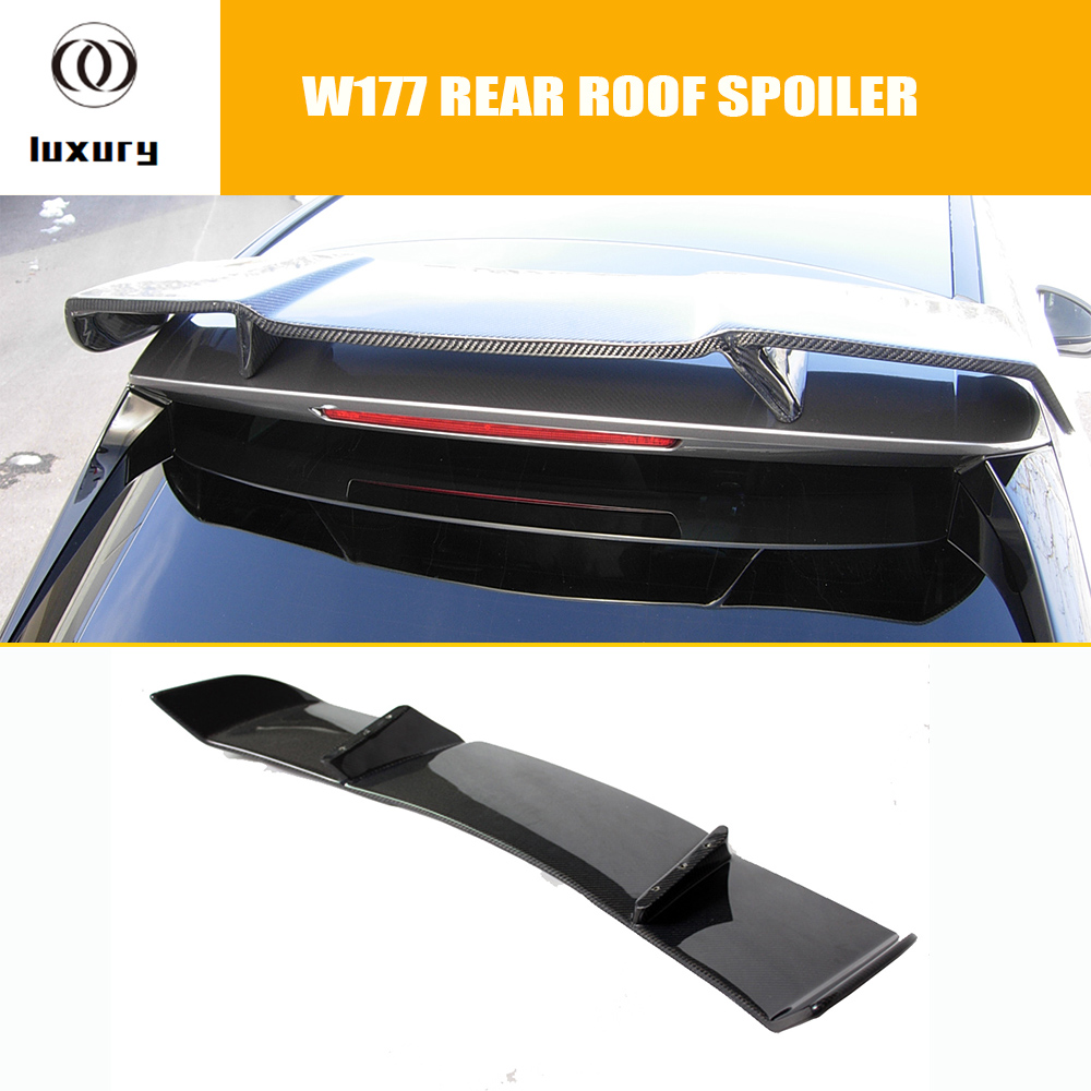 R Style Carbon Fiber Rear Roof Spoiler Wing for Benz A Class W177 A180 A200 A250 A260 A45 AMG 2018 2019 2020