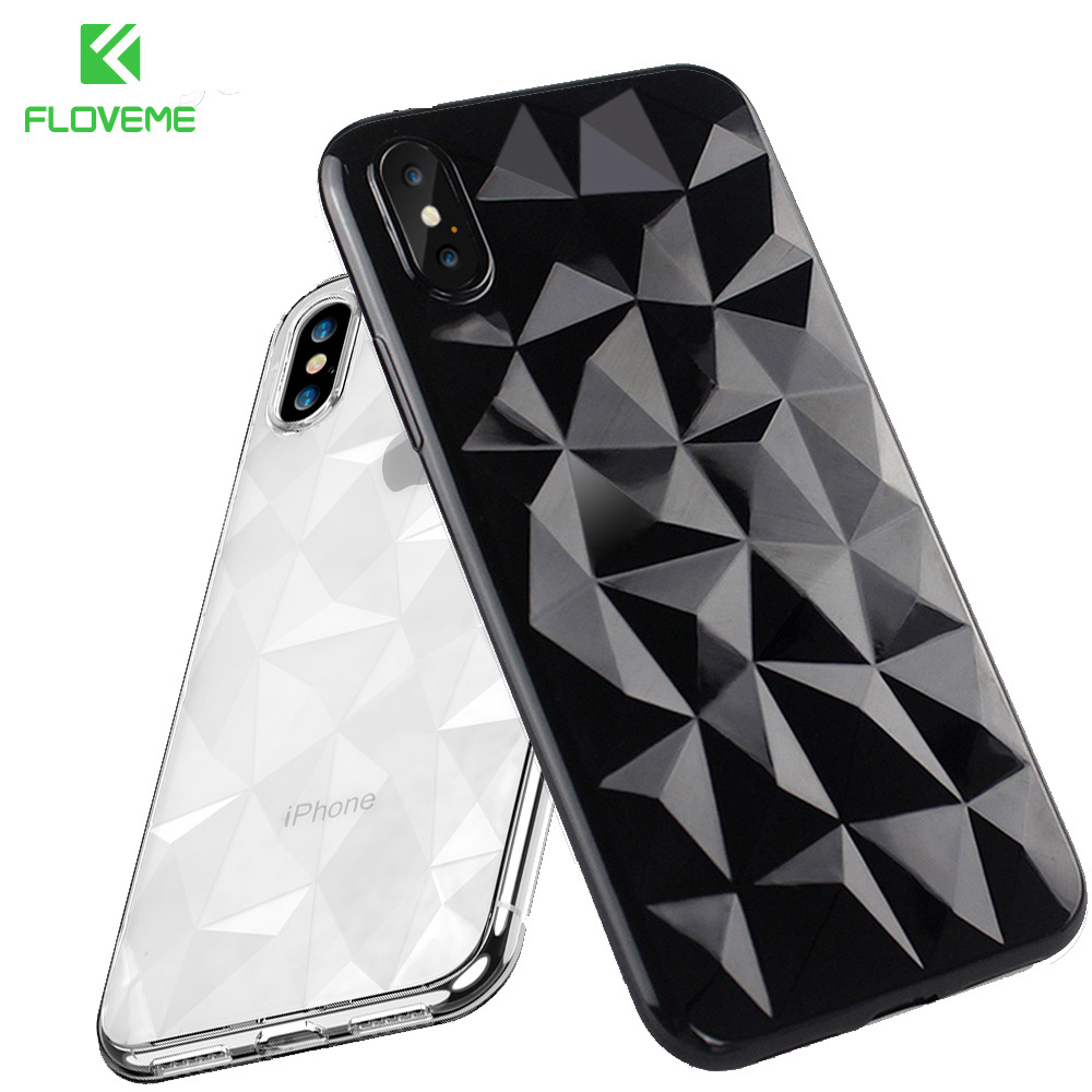 Galleria fotografica FLOVEME Soft Diamond Pattern Case For iPhone 6s 6 7 8 Plus Silicone Cases For iPhone X 8 7 6 S Plus Luxury Ultra Thin Back Cover