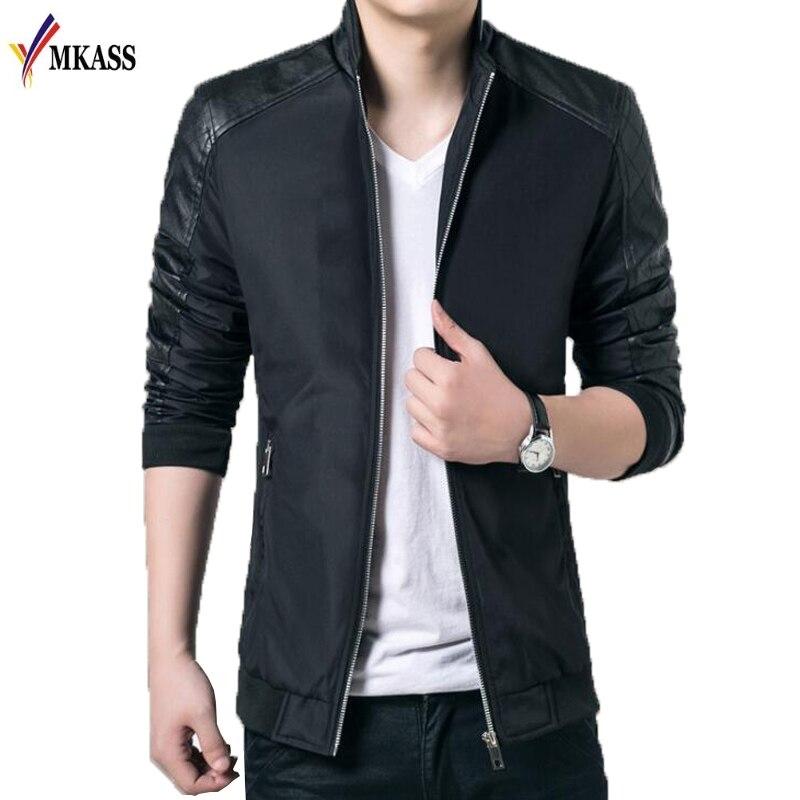 MKASS Brand Jacket Men Fashion Male Jackets Solid Stand Collar Zipper High Quality Jacket Coats Mens Jackets Windbreaker 5XL