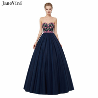 JaneVini Vintage Navy Blue Ball Gown Long Bridesmaid Dresses With Petticoat Exquisite Embroidery Beads Tulle Women Pageant Gowns