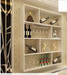 Contracted wine wall decoration on the wall. The bar hanging wall red wine rack shelf