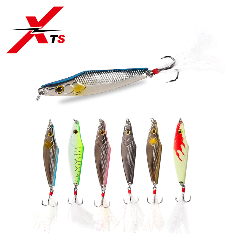 XTS Fishing Lure 7g 11g 14g 21g 28g Metal Sinking Jigging Spoon Spinner 6 Colors  With Strong Sharp Hooks Baits 3014B