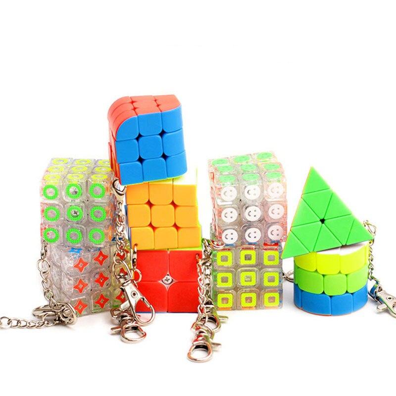 9 stil yaratıcı Mini sihirli küp anahtarlık hızlı büküm küp bulmaca oyuncaklar sırt çantası araba kolye dekor stres oyuncaklar rahatlatmak