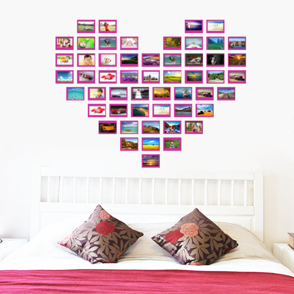 Heart design photo frame family forever memory wall decals for Stickers de pared