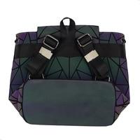 Women Laser Luminous Backpack Mini Geometric Shoulder Bag Folding Student School Bags For Teenage Girl Hologram Bao Backpack 5