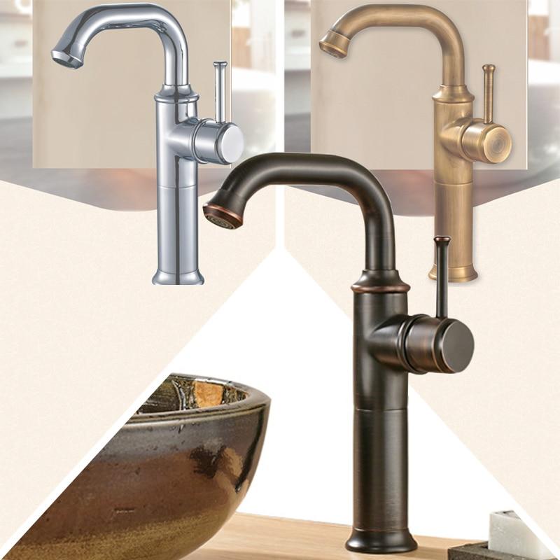 Oil Rubbed Bronze Bath Lavatory Single Handle Vessel Sink Mixer Tap Deck Mounted