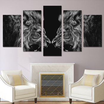 Picture On Canvas Wall Art Home Decoration Posters Modular Frame 5 Panel Animal Lion Living Room HD Modern Printed Painting