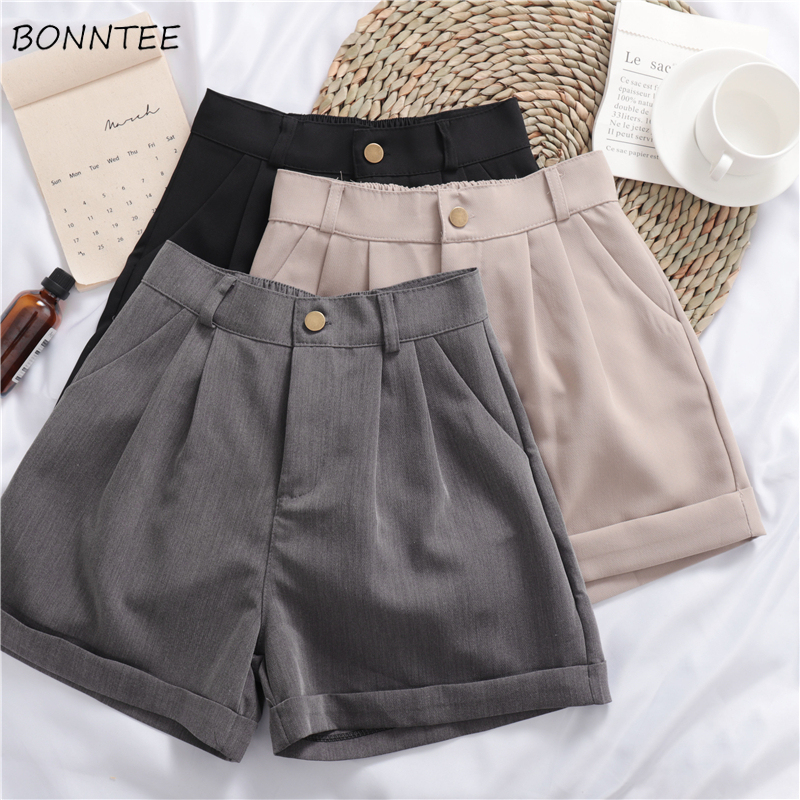 Shorts Women Solid Trendy Elegant All-match High-quality Korean Style Single Button Daily Womens Female Loose Simple 2019 New
