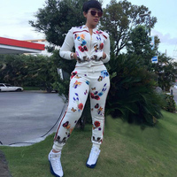 2 TWO PIECE SET Print Butterfly Flower Tracksuit Runway Jacket Joggers Matching Pants Women Clothing Track Suits Winter Ensemble