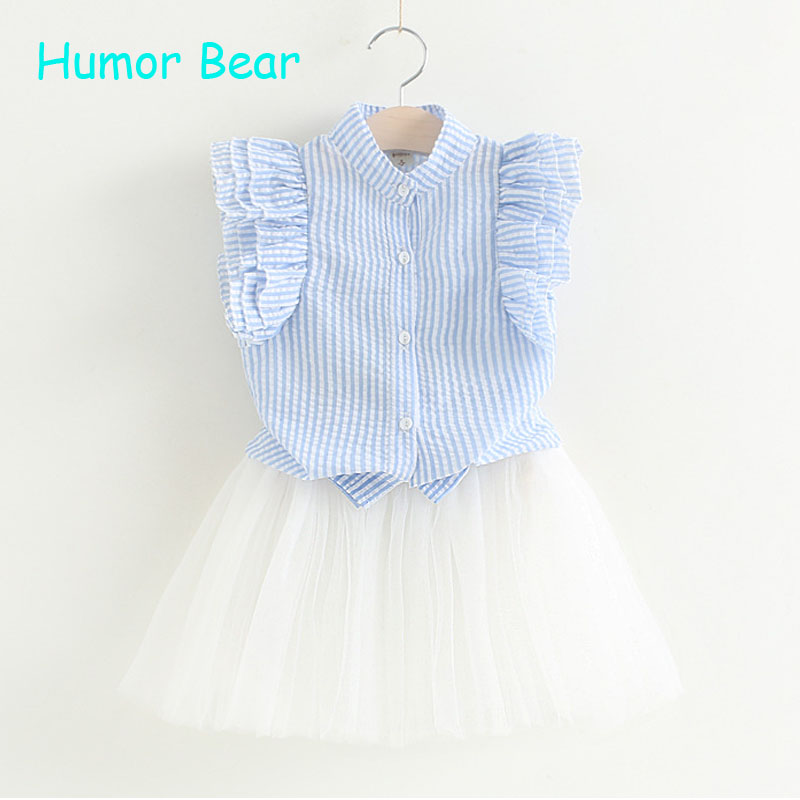 Humor Bear Summer New Children Girl's 2PC Sets Skirt Suit baby Clothing sets flowers skirt 2PCS girls clothes humor bear fashion fake two children clothing baby boys summer short sleeved suit pants 2pc sets newborn clothes