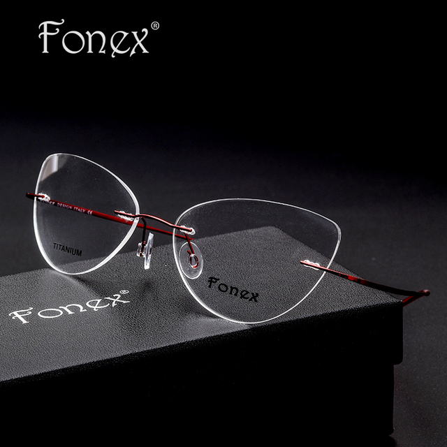 fb9a4493653 2017 Vintage Fashion for Women Female Cat Eye Rimless Glasses Memory  Titanium Eyeglasses Myopia Optical