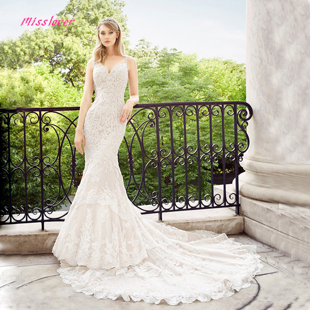 Vestido De Noiva Luxury lace Crystal and Pearls Mermaid Bride Wedding Dress 2019 new Bridal Gown