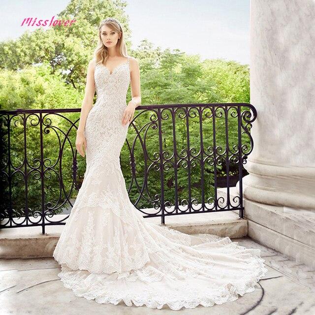 Vestido De Noiva De Luxo Cristal rendas e Pérolas Da Sereia Vestido de Casamento Da Noiva 2019 novo vestido de Noiva Sexy Com Decote Em V Robe de mariee