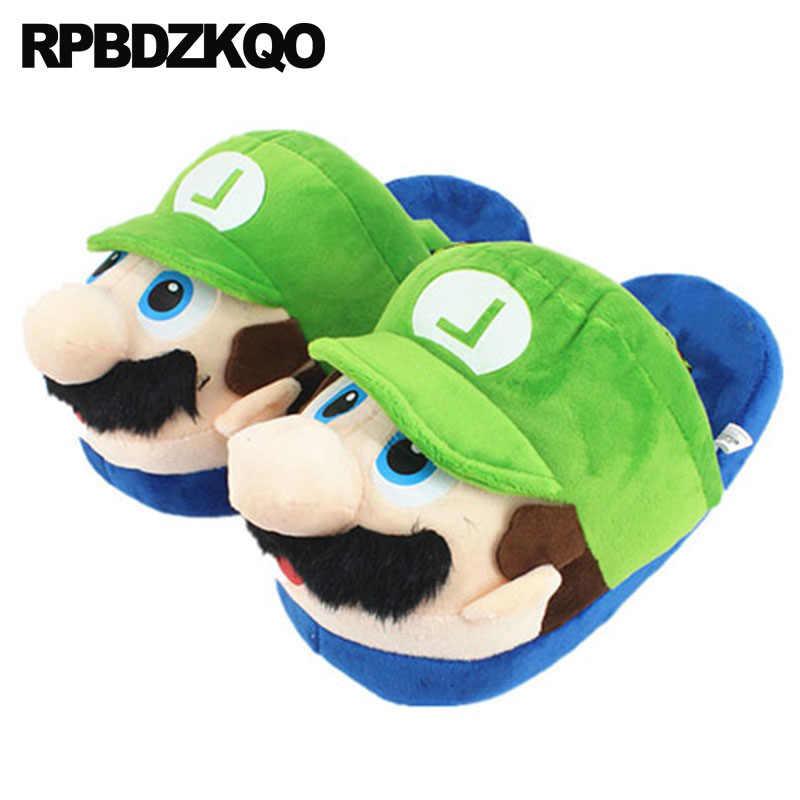 bdac3867b60 green pokemon plush go slippers cartoon animal funny women bow hello kitty  wide fit shoes ladies