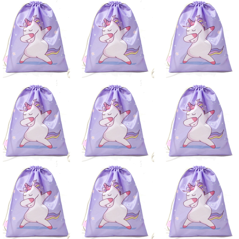 10 Pcs/Pack Unicorn Drawstring Pocket Rope-pulling Dancing Horse Backpack Girls Cute Bag Polyester Fabric Wholesale Bags Gift