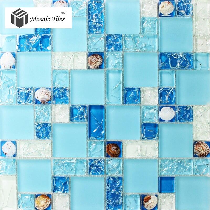 Mar Azul Estilo Concha Natural de Baño de Baldosas de