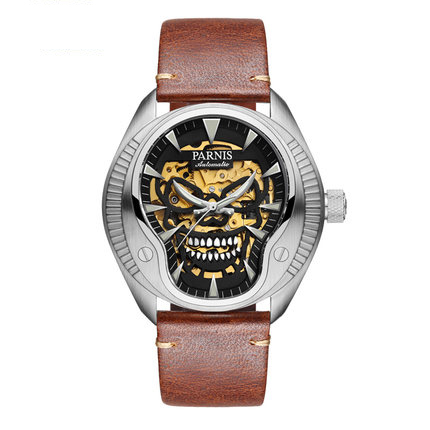 Parnis PIRATE Seriers Luminous Mens Leather Watchband Fashion Mechanical Watch Wristwatch pirate attack