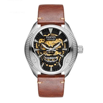 Parnis PIRATE Seriers Luminous Mens Leather Watchband Fashion Mechanical Watch Wristwatch parnis pilot iiv seriers luminous mens silicone leather watchband army sport chronograph quartz watch wristwatch